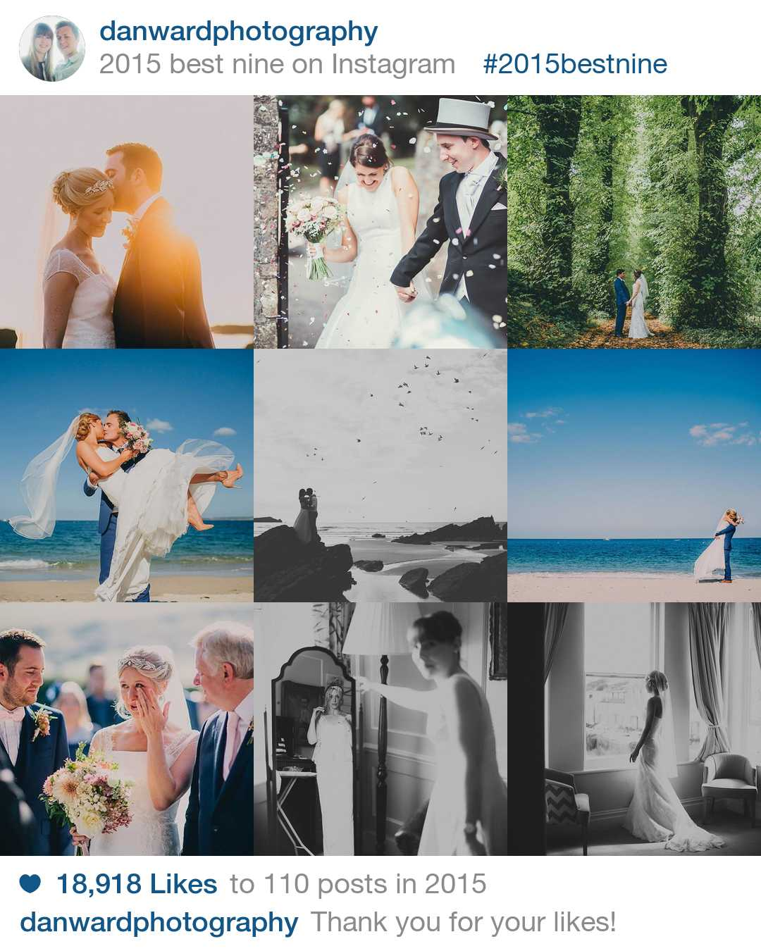 Dan ward Instragram of wedding photographer in cornwall
